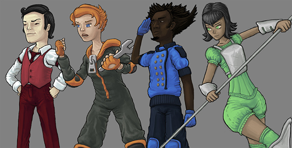 Rougefort, Gingelle, Zaffre and Greena. The characters in TSBL